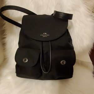Coach Billie Black Nylon Leather Trim Backpack